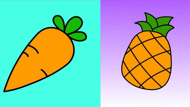 菠萝和萝卜 幼儿宝宝简笔画