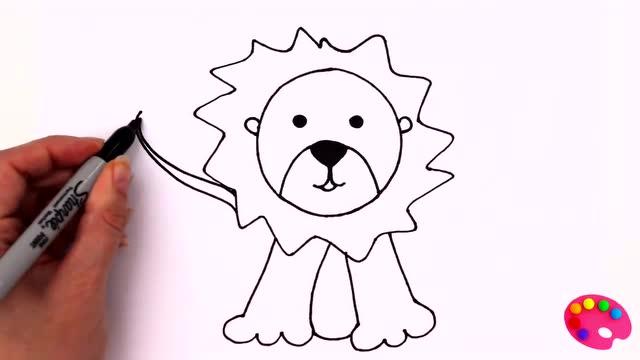 儿童素描彩绘简笔画汪汪队立大功狮子脸像跟太阳一样