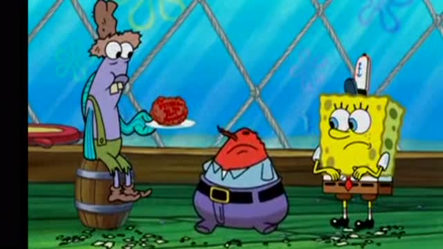 海绵宝宝与海之子_海绵宝宝 店里就一个人,还是打包的海之霸丸在吃,蟹老板石化