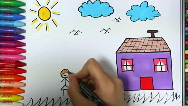 简笔画 漂亮的房子 蝴蝶