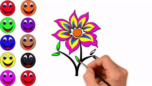 儿童简笔画涂色教程学画画花朵 亲子趣味游戏学习颜色