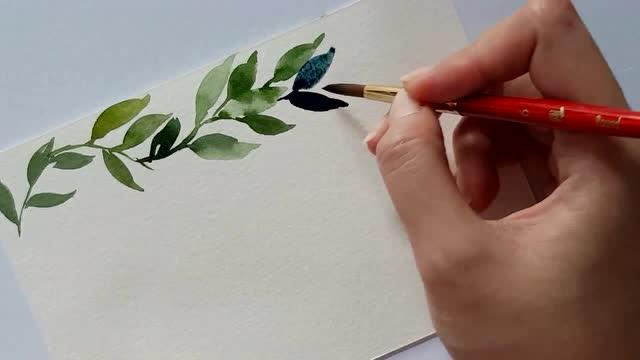 好看的水彩叶子手绘教程 做手账做封面都是极好的 方法简单易学