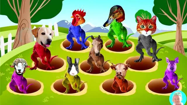 恐龙卡通动漫 学习农场动物名称和颜色 少儿英语早教