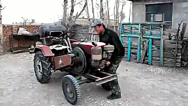 单缸柴油机改装摩托车视频 废摩托三轮改装柴油机图片