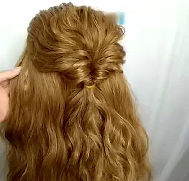 简单时尚新娘编发盘发扎头发教程视频