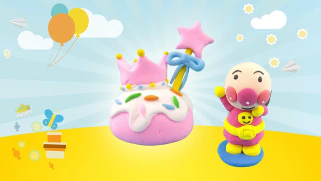 面包超人diy皇冠蝴蝶结蛋糕 超轻粘土手工制作食玩玩具教程