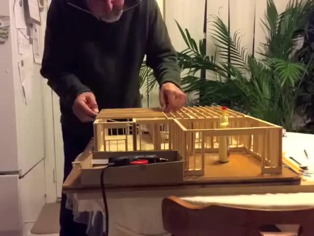 十六手工教程 使用雪糕棍制作别墅全过程