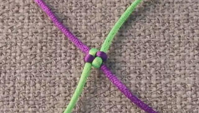 手工编绳基础编织 十字结编绳教程