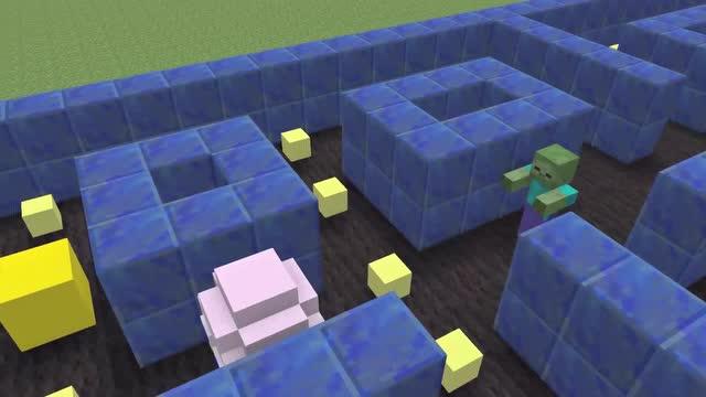 我的世界动画:怪物学院 好玩的吃豆人小游戏