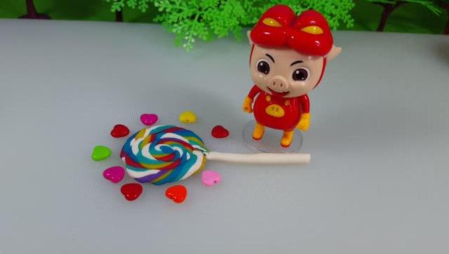 培乐多彩泥手工制作 猪猪侠超级五彩棒棒糖