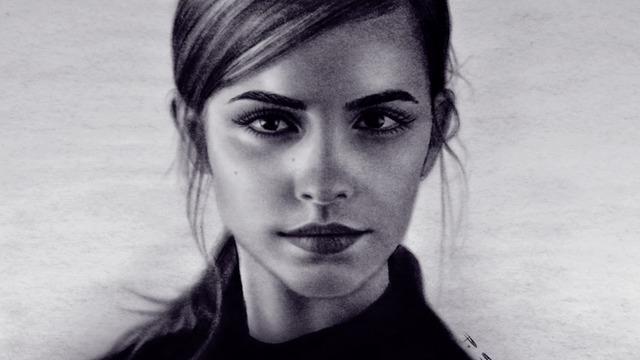 美丽的女孩,手绘艾玛·沃特森