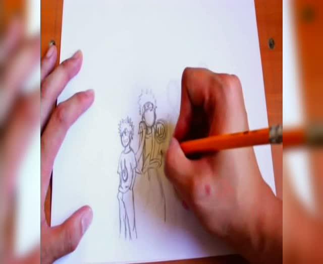 简笔画 五分钟教你画火影四人同框 很简单却非常有爱