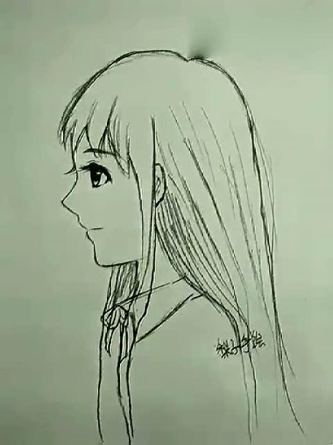 漫画女生的侧脸发型手绘