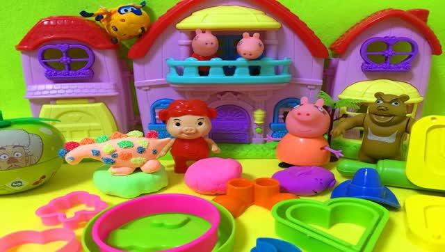 亲子游戏 小猪佩奇欢乐培乐多粘土手工制作传统美食儿童奇趣玩具