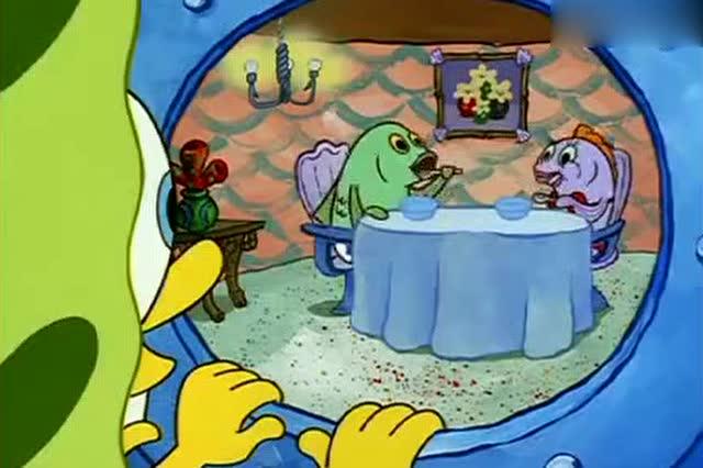 海绵宝宝,你的脚怎么踩进别人的碗里,这样让别人咋吃