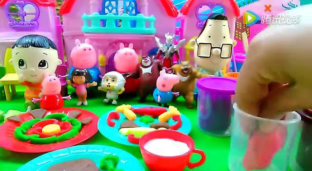 粉红猪小妹 彩泥牛排大餐亲手做轻泥橡皮泥