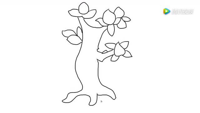 桃树儿童亲子简笔画