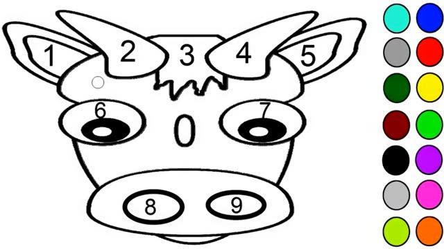 亲子简笔画:彩色数字牛 涂颜色右脑启蒙