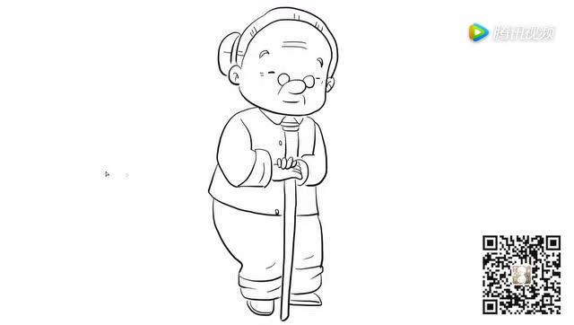 拿拐杖的老奶奶儿童亲子简笔画 宝宝轻松学画画