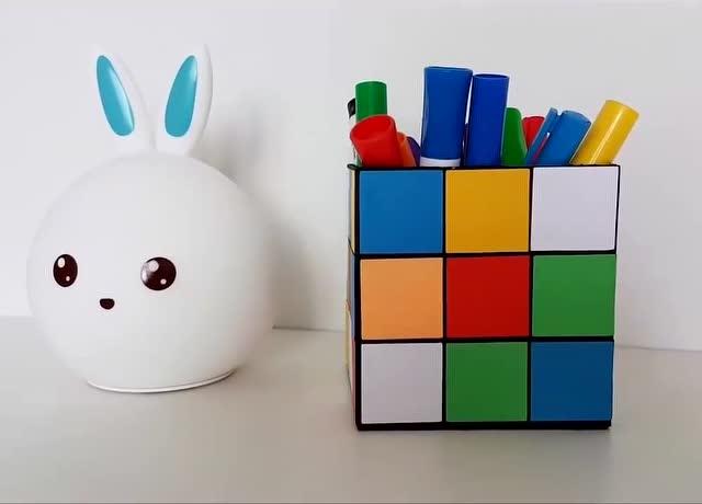 创意diy 教你手工制作魔方笔盒,装你喜欢的东西吧