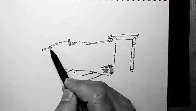 汤向钢笔画——风景速写入门教程 第一季:小院门外