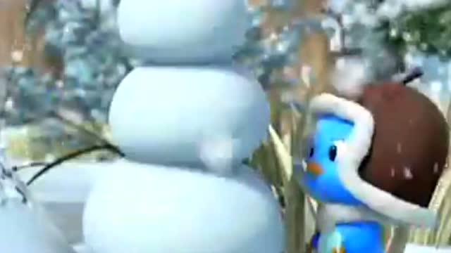 小黄鸡头顶的小雪人真可爱