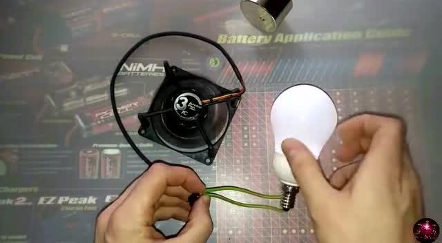 用旧cpu风扇改装了个发电机 竟然可以点亮led灯泡