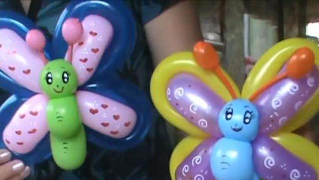 """长条气球编小动物""""蝴蝶""""魔术气球造型教程!"""