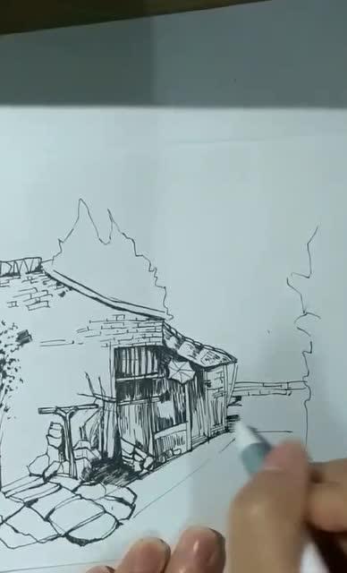 风景手绘用水笔画出世界
