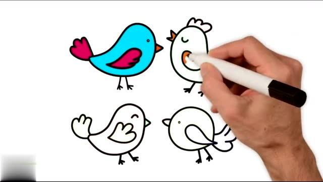 早教育儿简笔画,画四只可爱彩色小鸟