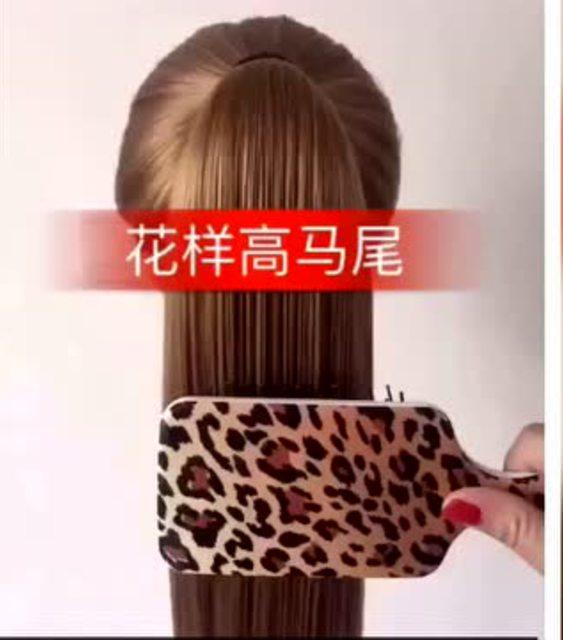 女生发型半扎丸子头与花样高马尾的编织方法
