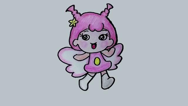 简笔画:女孩版小天使