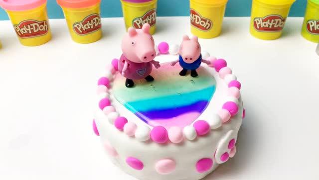 花儿朵朵童趣屋亲子手工diy小猪佩奇跟乔治一起做水晶爱心蛋糕图片