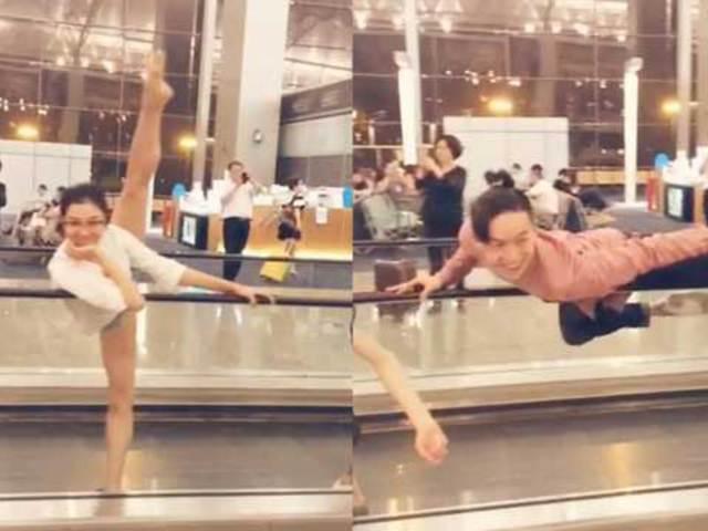 遭遇大雨飞机晚点 芭蕾舞者机场即兴表演走红