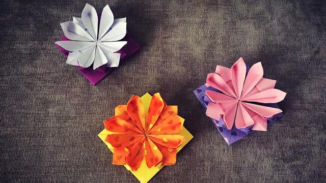 纸在乎你 手工折纸大全 八瓣花折纸视频