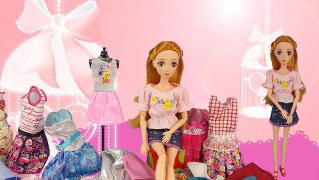 芭比娃娃夏季衣橱diy时装秀 最新女孩公主换装造型玩具游戏
