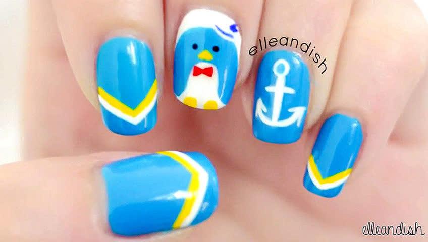 指尖上的萌货 山姆企鹅水手美甲