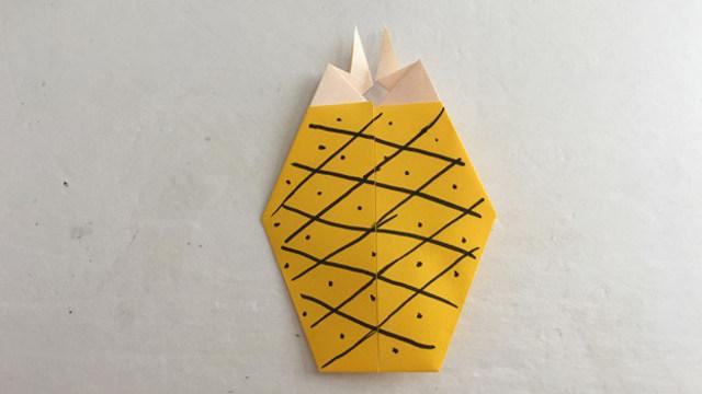 儿童折纸:菠萝