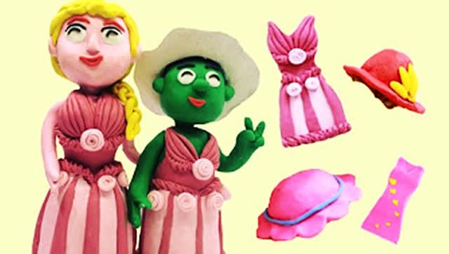 爱莎公主给绿巨人穿上女孩衣服!橡皮泥动画片