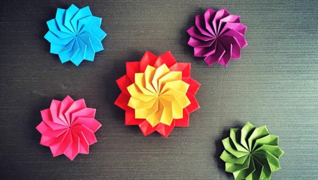 手工折纸 礼品盒装饰花朵折纸视频教程