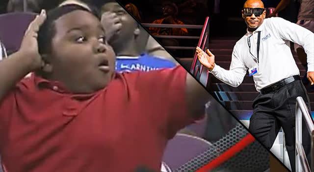 实拍赛场上黑人小胖和保安哥隔空斗舞
