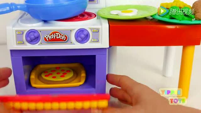 过家家玩具厨房橡皮泥手工diy制作蛋糕鸡蛋饼披萨饼