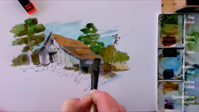 简单水彩风景画教程,山坡上的小房子