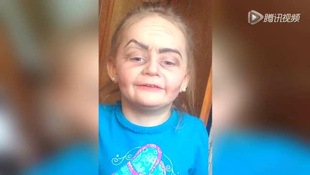 """美国3岁女孩化妆后变""""老奶奶""""走红图片"""