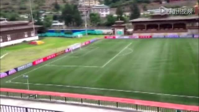 腾讯记者走进国足比赛体育场 看台鸟瞰球场全景截图