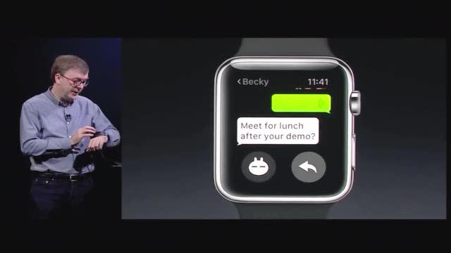 现场演示如何使用苹果手表版微信截图