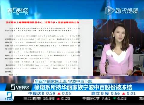 徐翔系所持华丽家族宁波中百股份被冻结截图