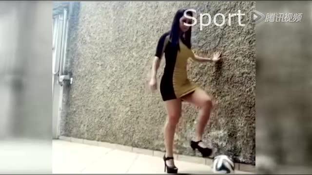 不服来PK!美女紧身短裙+15厘米高跟鞋逆天颠球截图