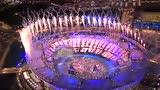 视频:伦敦碗上空烟火绚烂 五环旗帜进入场内