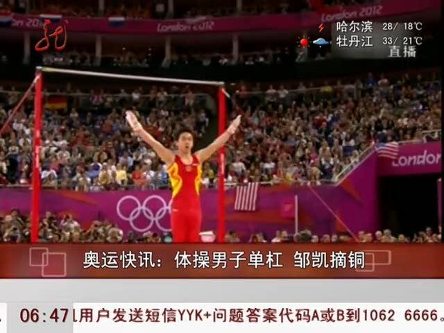视频:体操男子单杠 邹凯摘铜佐德兰德摘金牌